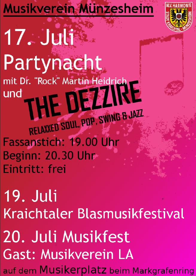 """Offizieller Flyer für das Sommerfest des MV """"Harmonie"""" Münzesheim"""