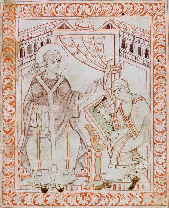 Gregor I. beim Diktieren des gregorianischen Gesangs (aus dem Antiphonar des Hartker von St. Gallen, St. Gallen, Stiftsbibliothek, Cod. 390, p. 13, um 1000)